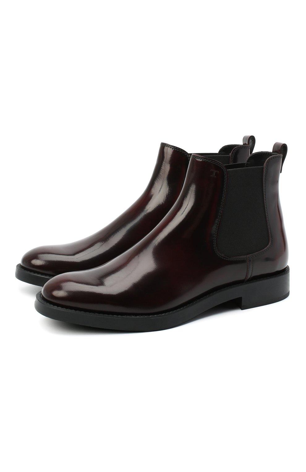 Женские кожаные ботинки TOD'S бордового цвета, арт. XXW60C0DD50AKT   Фото 1