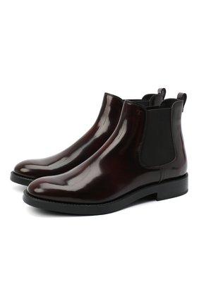 Женские кожаные ботинки TOD'S бордового цвета, арт. XXW60C0DD50AKT | Фото 1
