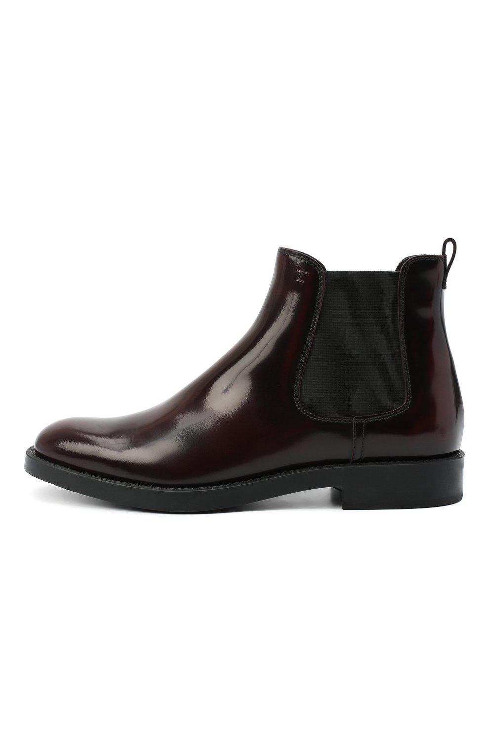 Женские кожаные ботинки TOD'S бордового цвета, арт. XXW60C0DD50AKT   Фото 3
