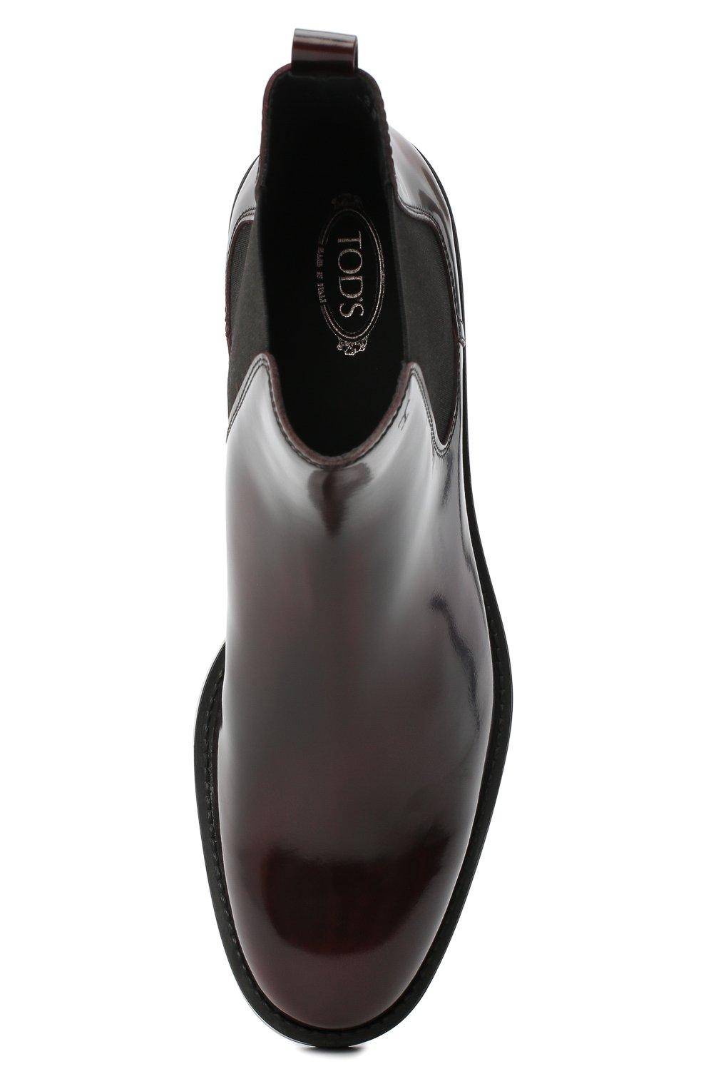 Женские кожаные ботинки TOD'S бордового цвета, арт. XXW60C0DD50AKT   Фото 5