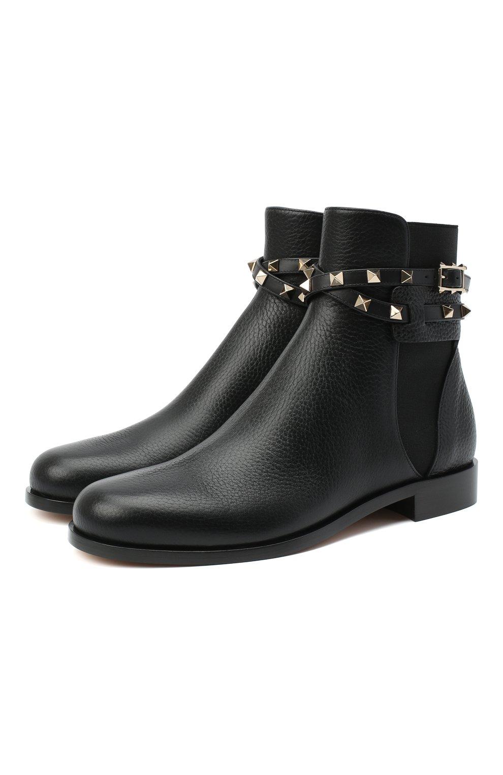 Женские кожаные ботинки valentino garavani rockstud VALENTINO черного цвета, арт. UW2S0P64/VCE | Фото 1