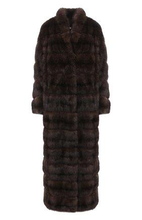 Женская шуба из меха соболя MANZONI24 темно-коричневого цвета, арт. 20M816-Z/38-46   Фото 1