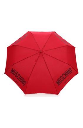 Женский складной зонт MOSCHINO красного цвета, арт. 8021-0PENCL0SE   Фото 1 (Материал: Металл, Текстиль, Синтетический материал)