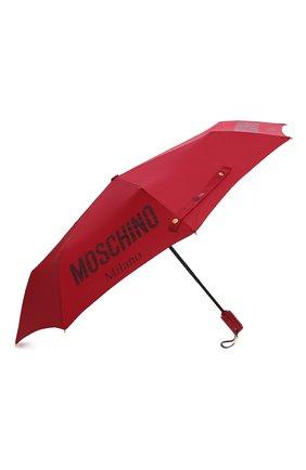 Женский складной зонт MOSCHINO красного цвета, арт. 8021-0PENCL0SE   Фото 2 (Материал: Металл, Текстиль, Синтетический материал)