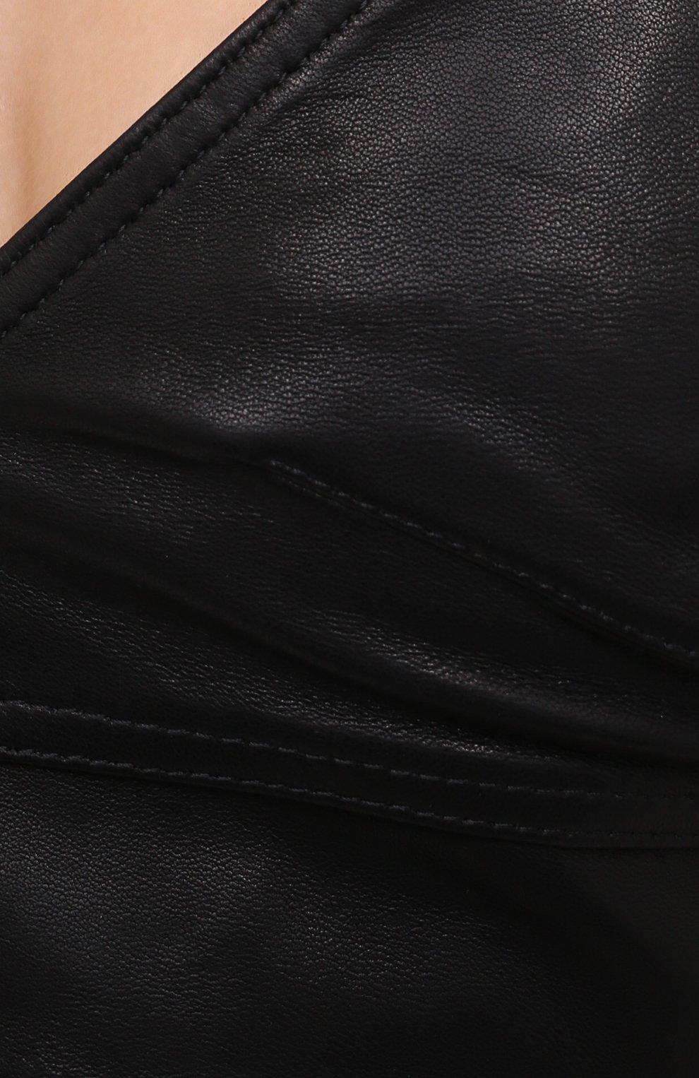 Женский кожаный топ HELMUT LANG черного цвета, арт. K04HW501 | Фото 5