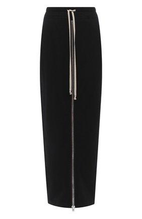 Женская юбка из хлопка и шерсти RICK OWENS черного цвета, арт. RP20F2331/WCF   Фото 1