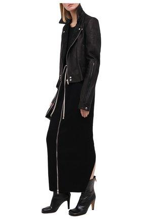Женская юбка из хлопка и шерсти RICK OWENS черного цвета, арт. RP20F2331/WCF   Фото 2