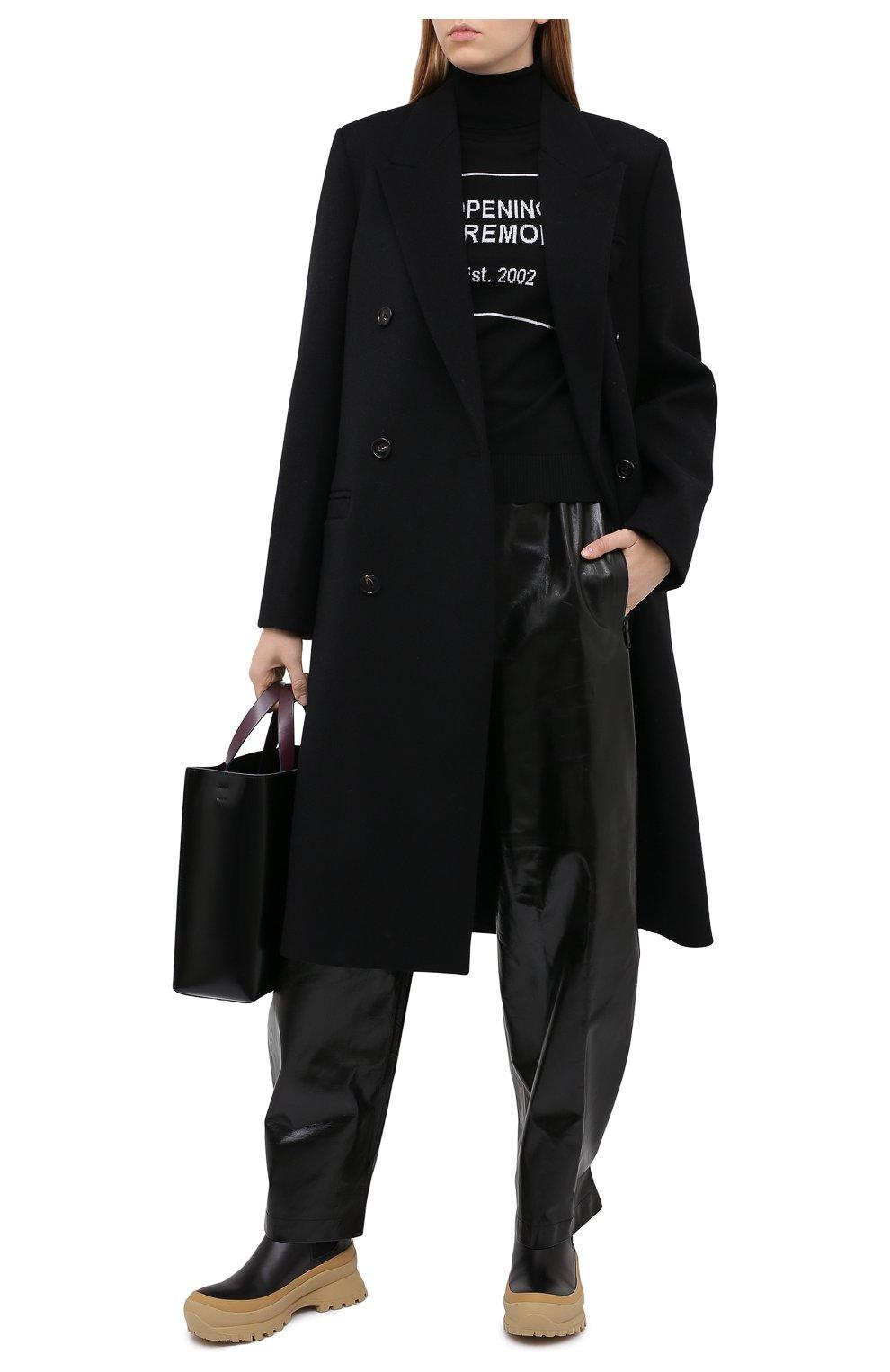 Женская хлопковая водолазка OPENING CEREMONY черного цвета, арт. YWHF002E20KNI001 | Фото 2 (Женское Кросс-КТ: Водолазка-одежда; Материал внешний: Шерсть; Рукава: Длинные; Длина (для топов): Стандартные; Стили: Кэжуэл)