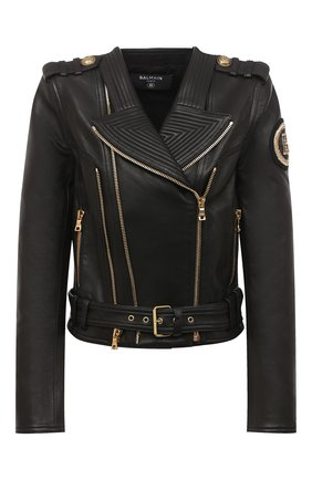 Женская кожаная куртка BALMAIN черного цвета, арт. UF18249/L025 | Фото 1