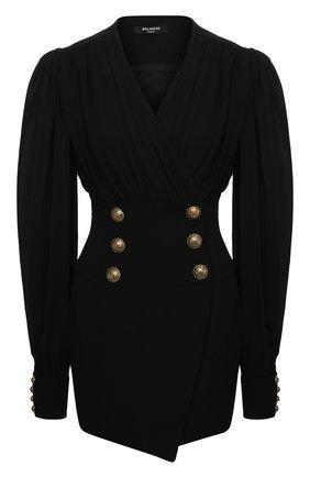 Женское платье из вискозы BALMAIN черного цвета, арт. UF16285/V089 | Фото 1