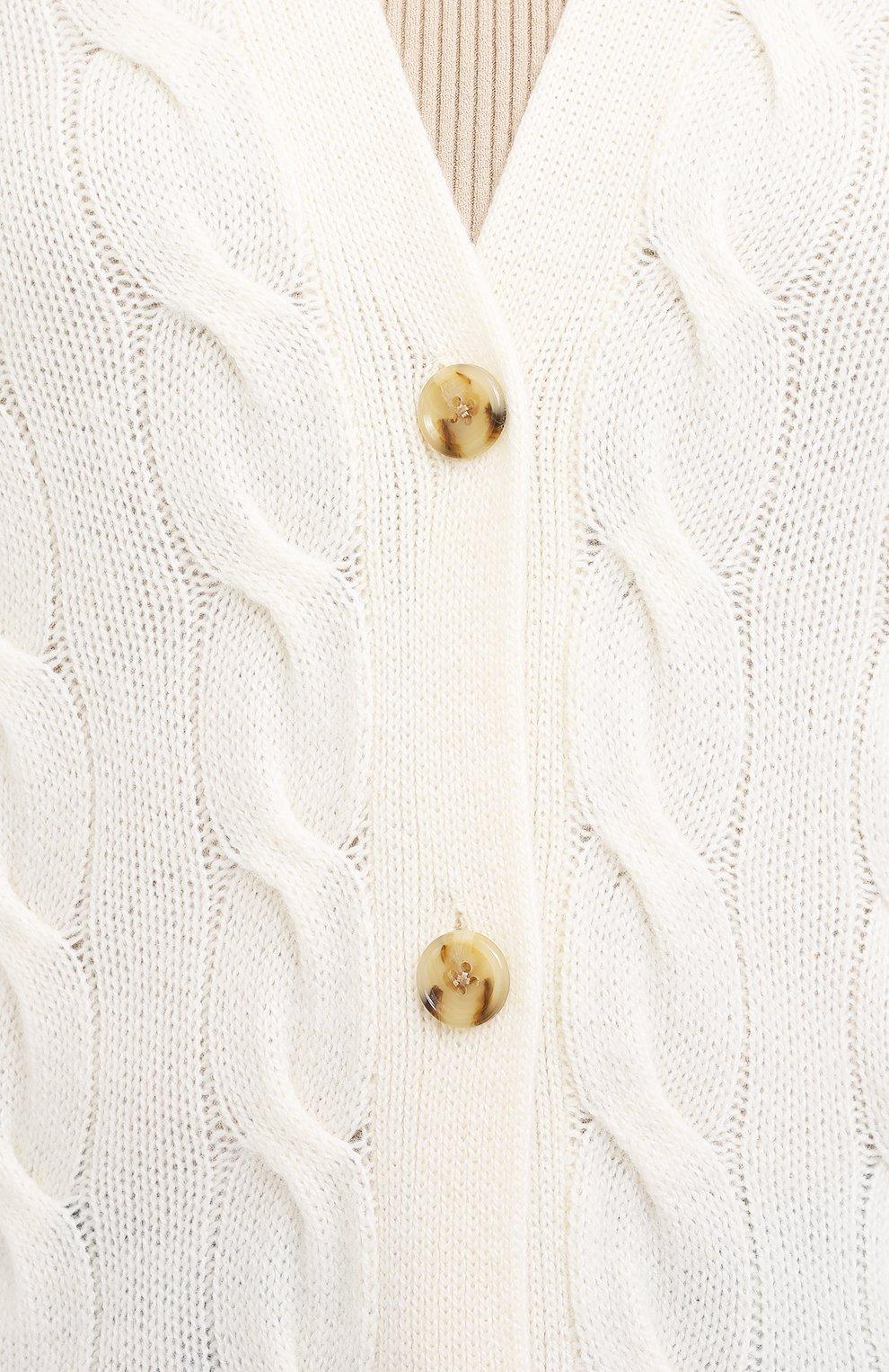 Женский кашемировый кардиган POLO RALPH LAUREN кремвого цвета, арт. 211801467 | Фото 5