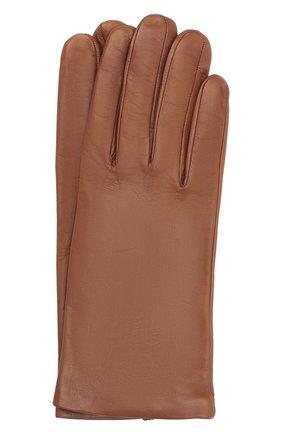 Женские кожаные перчатки DRIES VAN NOTEN коричневого цвета, арт. 202-10101-101 | Фото 1