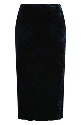 Женская юбка из вискозы и шелка DRIES VAN NOTEN темно-синего цвета, арт. 202-10820-1349 | Фото 1