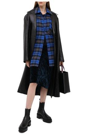 Женская юбка из вискозы и шелка DRIES VAN NOTEN темно-синего цвета, арт. 202-10820-1349 | Фото 2