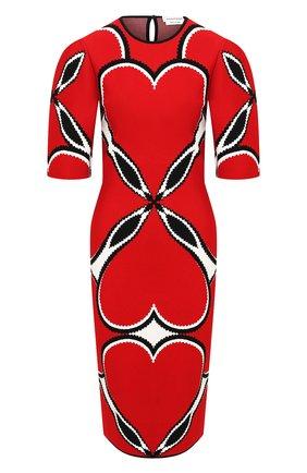 Женское платье из вискозы ALEXANDER MCQUEEN красного цвета, арт. 641905/Q1ARV   Фото 1 (Рукава: 3/4; Длина Ж (юбки, платья, шорты): До колена; Женское Кросс-КТ: Платье-одежда, платье-футляр; Стили: Романтичный; Материал внешний: Вискоза; Случай: Вечерний)