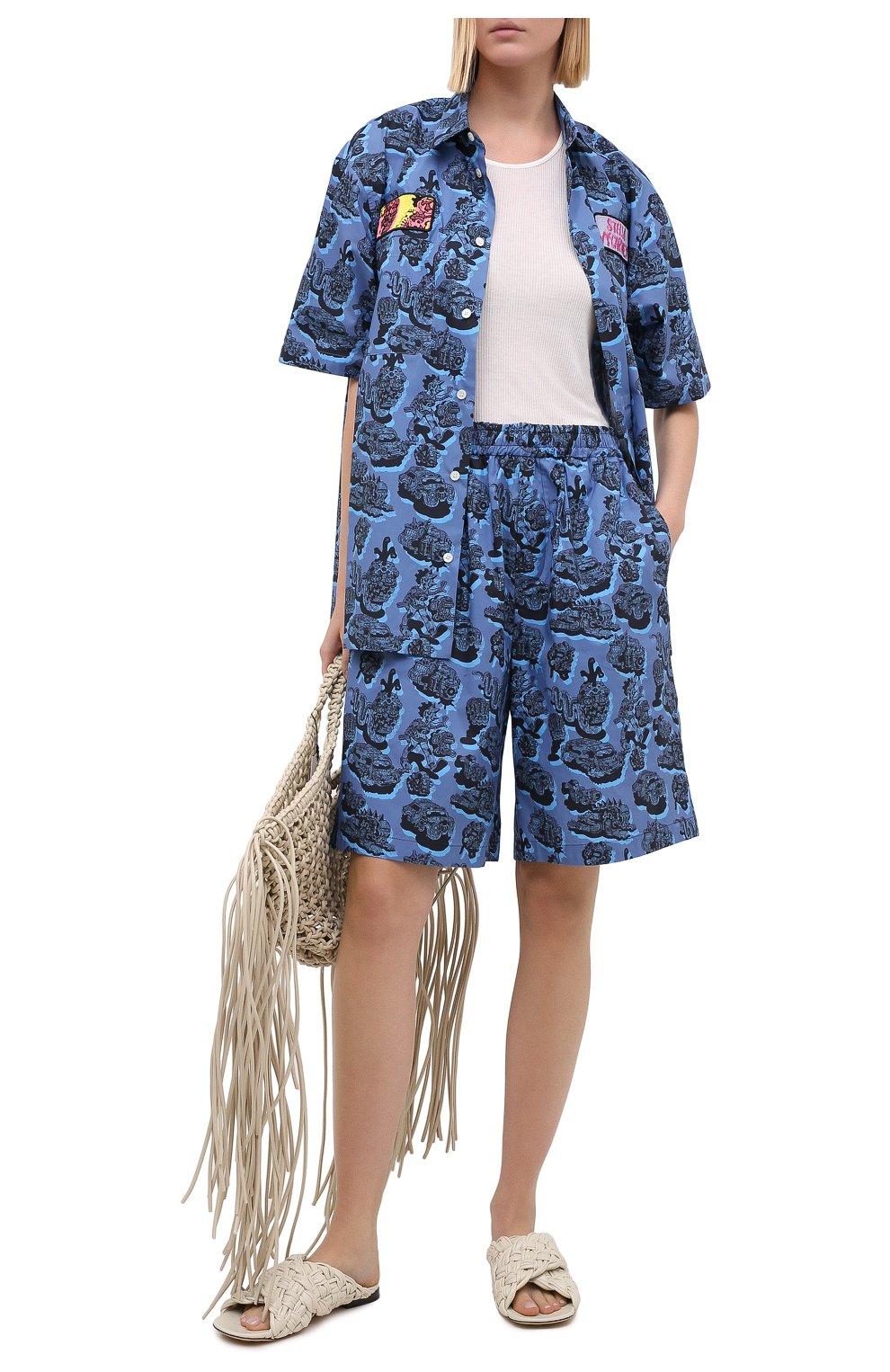 Женские хлопковые шорты STELLA MCCARTNEY синего цвета, арт. 600473/SPN12 | Фото 2 (Женское Кросс-КТ: Шорты-одежда; Кросс-КТ: Широкие; Материал внешний: Хлопок; Длина Ж (юбки, платья, шорты): До колена; Стили: Кэжуэл)