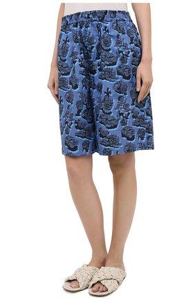 Женские хлопковые шорты STELLA MCCARTNEY синего цвета, арт. 600473/SPN12 | Фото 3 (Женское Кросс-КТ: Шорты-одежда; Кросс-КТ: Широкие; Материал внешний: Хлопок; Длина Ж (юбки, платья, шорты): До колена; Стили: Кэжуэл)