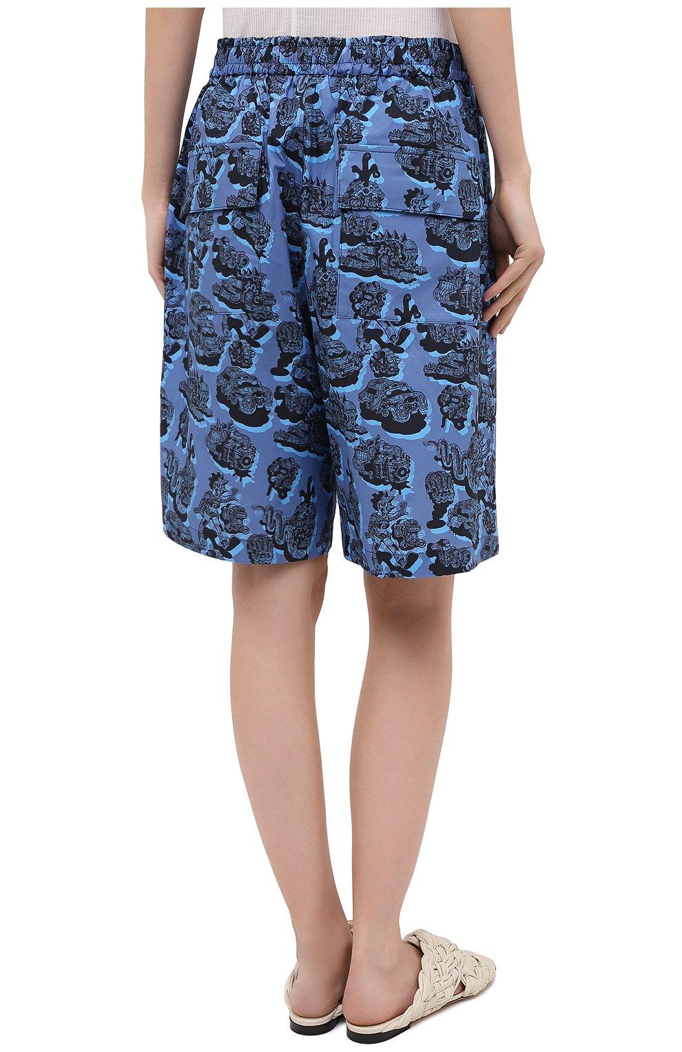 Женские хлопковые шорты STELLA MCCARTNEY синего цвета, арт. 600473/SPN12 | Фото 4 (Женское Кросс-КТ: Шорты-одежда; Кросс-КТ: Широкие; Материал внешний: Хлопок; Длина Ж (юбки, платья, шорты): До колена; Стили: Кэжуэл)