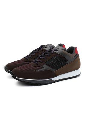 Мужские комбинированные кроссовки HOGAN коричневого цвета, арт. HXM3210K79009M   Фото 1