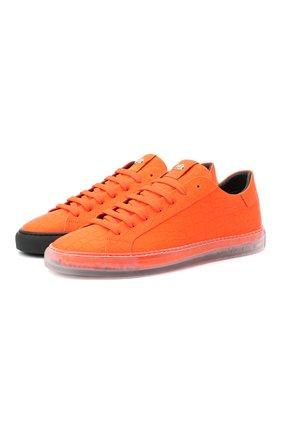 Мужские кожаные кеды HIDE&JACK оранжевого цвета, арт. FLUL0RGTRB | Фото 1