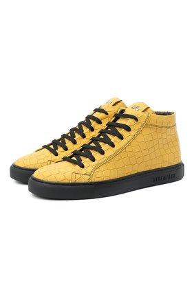 Мужские кожаные кеды HIDE&JACK желтого цвета, арт. G0MHYLWBLK | Фото 1
