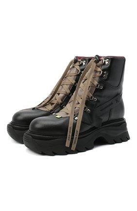 Мужские кожаные ботинки equipment OFF-WHITE темно-серого цвета, арт. 0MIA184E20LEA0010600 | Фото 1