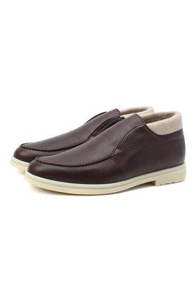 Мужские кожаные ботинки open wintery walk LORO PIANA бордового цвета, арт. FAL4243 | Фото 1