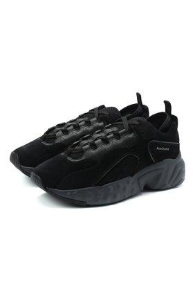 Мужские замшевые кроссовки rockaway ACNE STUDIOS черного цвета, арт. BD0136 | Фото 1