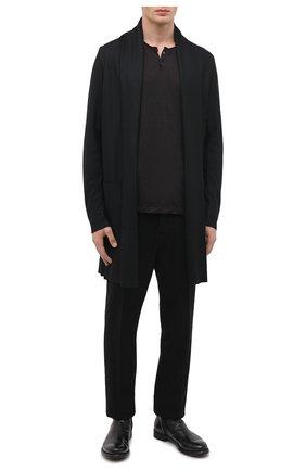 Мужская шерстяной кардиган KAZUYUKI KUMAGAI черного цвета, арт. AC03-226 | Фото 2