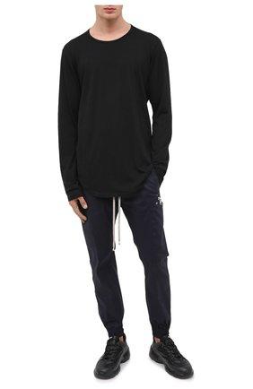 Мужская хлопковый лонгслив KAZUYUKI KUMAGAI черного цвета, арт. AJ03-222 | Фото 2