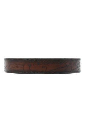 Мужской кожаный ремень BERLUTI коричневого цвета, арт. CS004-001 | Фото 1