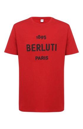 Мужская хлопковая футболка BERLUTI красного цвета, арт. R18JRS50-002 | Фото 1