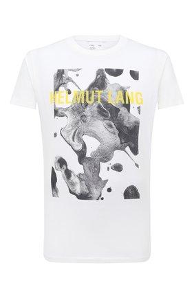 Мужская хлопковая футболка HELMUT LANG белого цвета, арт. K04DM502   Фото 1 (Материал внешний: Хлопок; Длина (для топов): Стандартные; Рукава: Короткие; Принт: С принтом; Стили: Гранж)