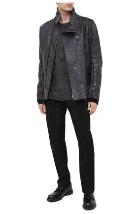 Мужская кожаная куртка ISAAC SELLAM темно-серого цвета, арт. DEPASSE-CRASSE-P0UILLE | Фото 2