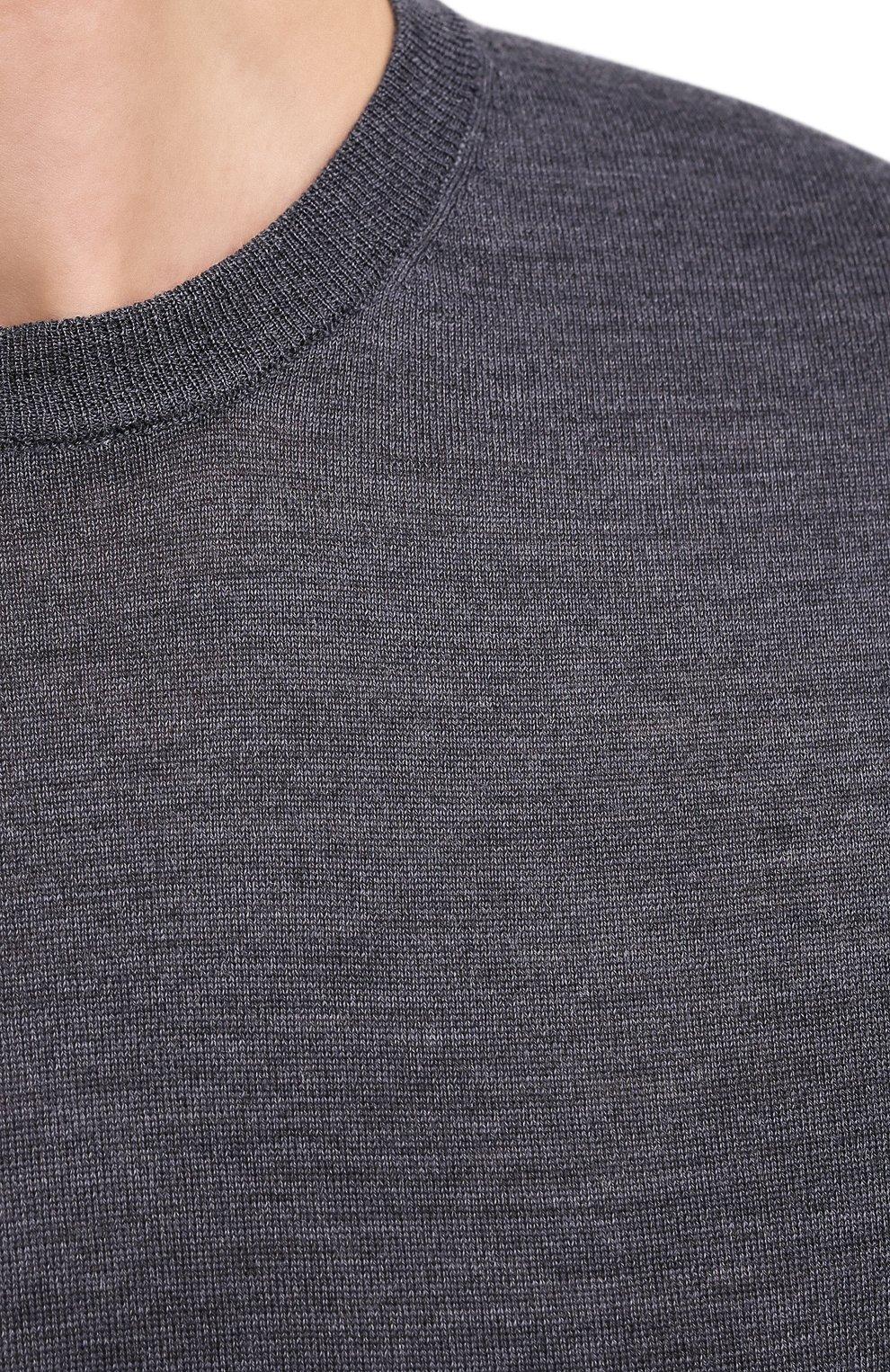 Мужской шерстяной джемпер ASPESI темно-серого цвета, арт. W0 Q M249 4831   Фото 5 (Мужское Кросс-КТ: Джемперы; Материал внешний: Шерсть; Рукава: Длинные; Принт: Без принта; Длина (для топов): Стандартные; Вырез: Круглый; Стили: Кэжуэл)
