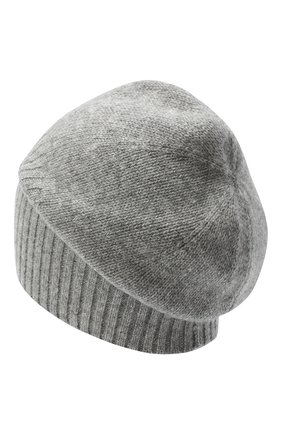 Мужская кашемировая шапка ALLUDE серого цвета, арт. 205/30027 | Фото 2 (Материал: Кашемир, Шерсть; Кросс-КТ: Трикотаж)