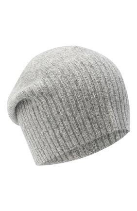 Мужская кашемировая шапка ALLUDE серого цвета, арт. 205/30037 | Фото 1 (Материал: Шерсть, Кашемир; Кросс-КТ: Трикотаж)