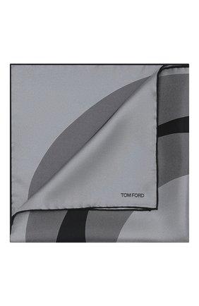 Мужской шелковый платок TOM FORD темно-серого цвета, арт. 8TF106/TF312 | Фото 1 (Материал: Текстиль)