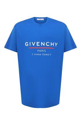Мужская хлопковая футболка GIVENCHY синего цвета, арт. BM70U23002 | Фото 1