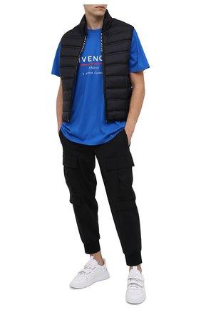 Мужская хлопковая футболка GIVENCHY синего цвета, арт. BM70U23002 | Фото 2