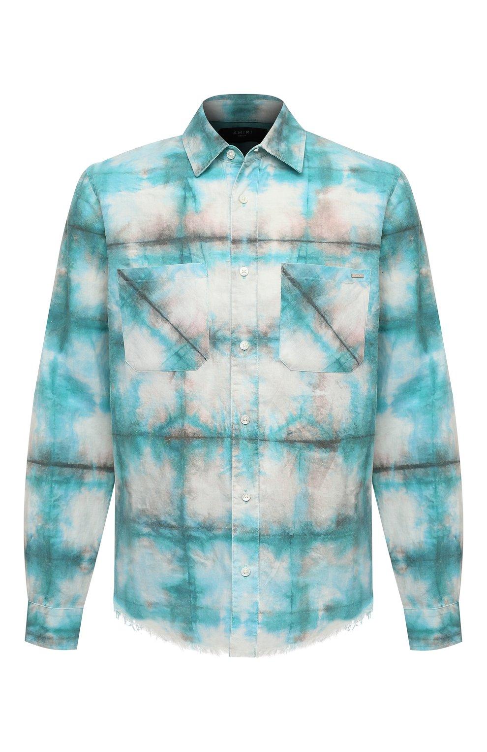 Мужская хлопковая рубашка AMIRI синего цвета, арт. F0M06189PD | Фото 1 (Воротник: Кент; Рукава: Длинные; Случай: Повседневный; Длина (для топов): Стандартные; Материал внешний: Хлопок)