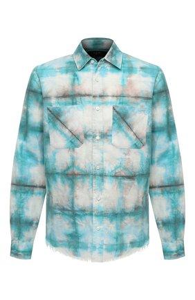 Мужская хлопковая рубашка AMIRI синего цвета, арт. F0M06189PD | Фото 1