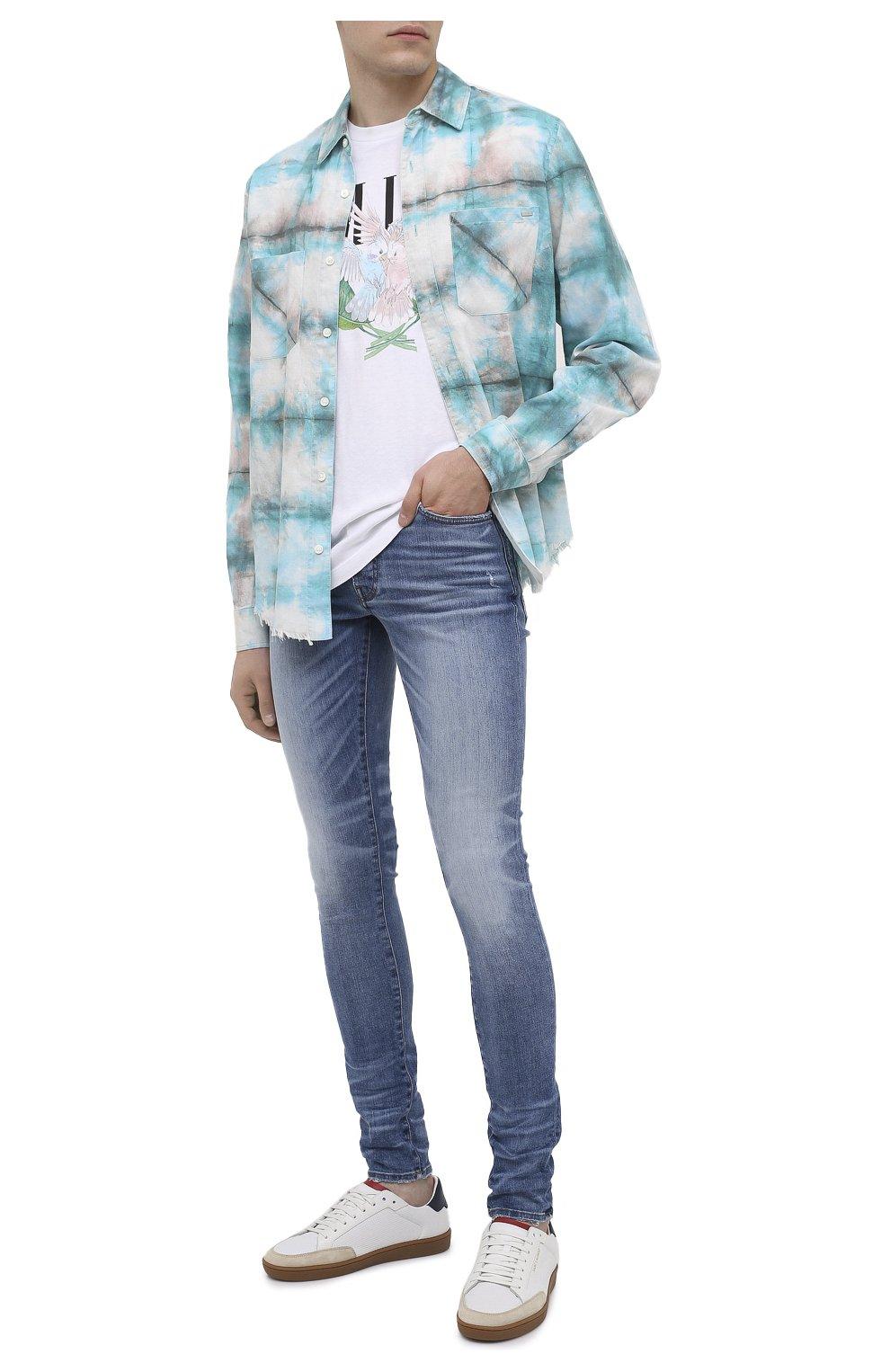 Мужская хлопковая рубашка AMIRI синего цвета, арт. F0M06189PD | Фото 2 (Воротник: Кент; Рукава: Длинные; Случай: Повседневный; Длина (для топов): Стандартные; Материал внешний: Хлопок)