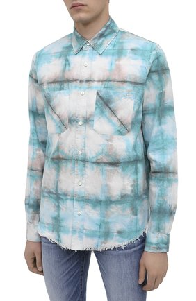 Мужская хлопковая рубашка AMIRI синего цвета, арт. F0M06189PD | Фото 3 (Воротник: Кент; Рукава: Длинные; Случай: Повседневный; Длина (для топов): Стандартные; Материал внешний: Хлопок)