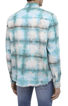 Мужская хлопковая рубашка AMIRI синего цвета, арт. F0M06189PD | Фото 4 (Воротник: Кент; Рукава: Длинные; Случай: Повседневный; Длина (для топов): Стандартные; Материал внешний: Хлопок)