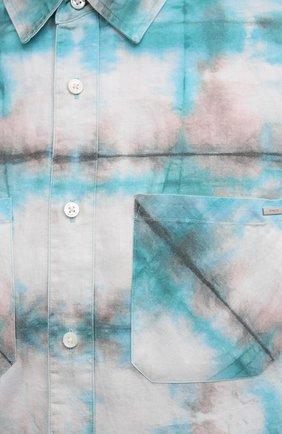 Мужская хлопковая рубашка AMIRI синего цвета, арт. F0M06189PD | Фото 5 (Воротник: Кент; Рукава: Длинные; Случай: Повседневный; Длина (для топов): Стандартные; Материал внешний: Хлопок)