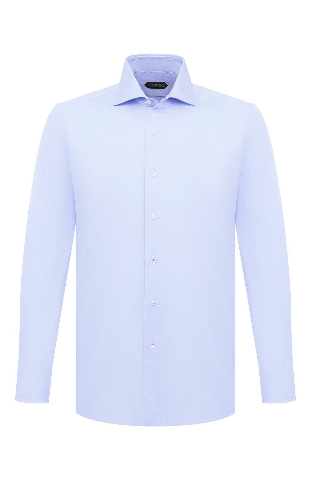 Мужская хлопковая сорочка TOM FORD голубого цвета, арт. QFT192/94S3AX | Фото 1