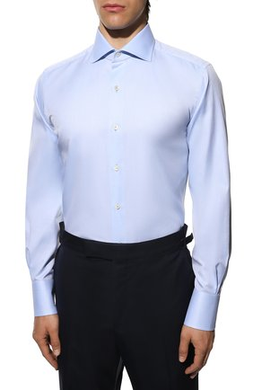 Мужская хлопковая сорочка TOM FORD голубого цвета, арт. QFT192/94S3AX | Фото 3