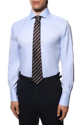 Мужская хлопковая сорочка TOM FORD голубого цвета, арт. QFT192/94S3AX | Фото 4