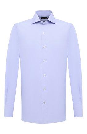 Мужская хлопковая сорочка TOM FORD голубого цвета, арт. QFT009/94S3AX | Фото 1